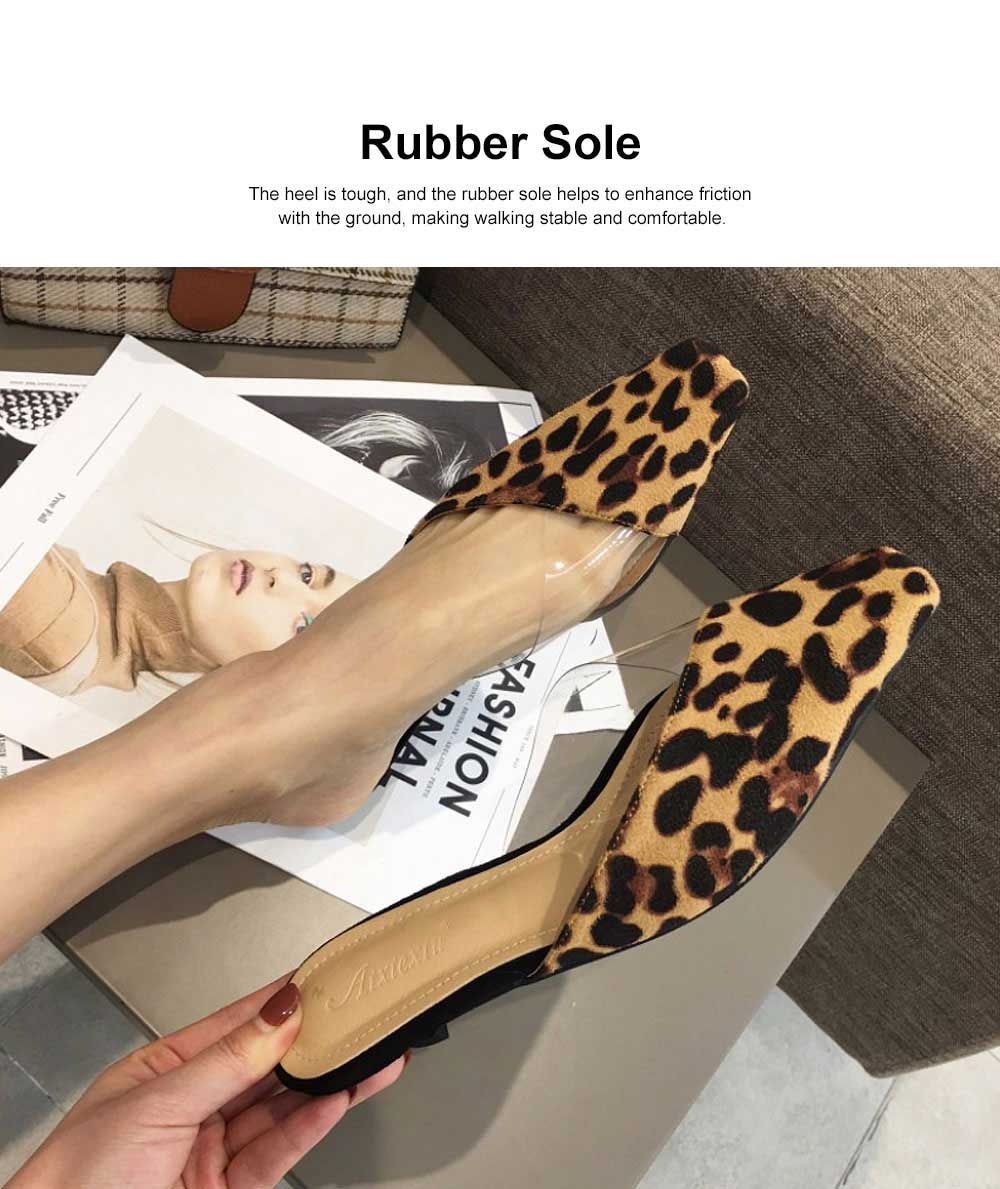 Summer Flat Shoes Ladies Fashion Slippers Leopard Tip Binding Pointed Backless Loafer Mueller Shoes 2019 New 2