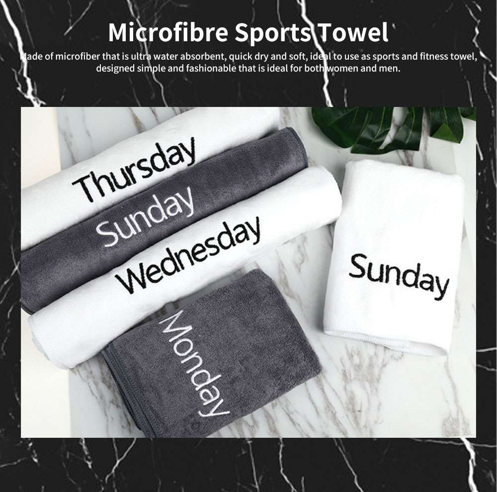 Microfibre Sports Towel High Water absorbent Quick Dry Gym Fitness Towel, One-week Black & White Facial Towel 0