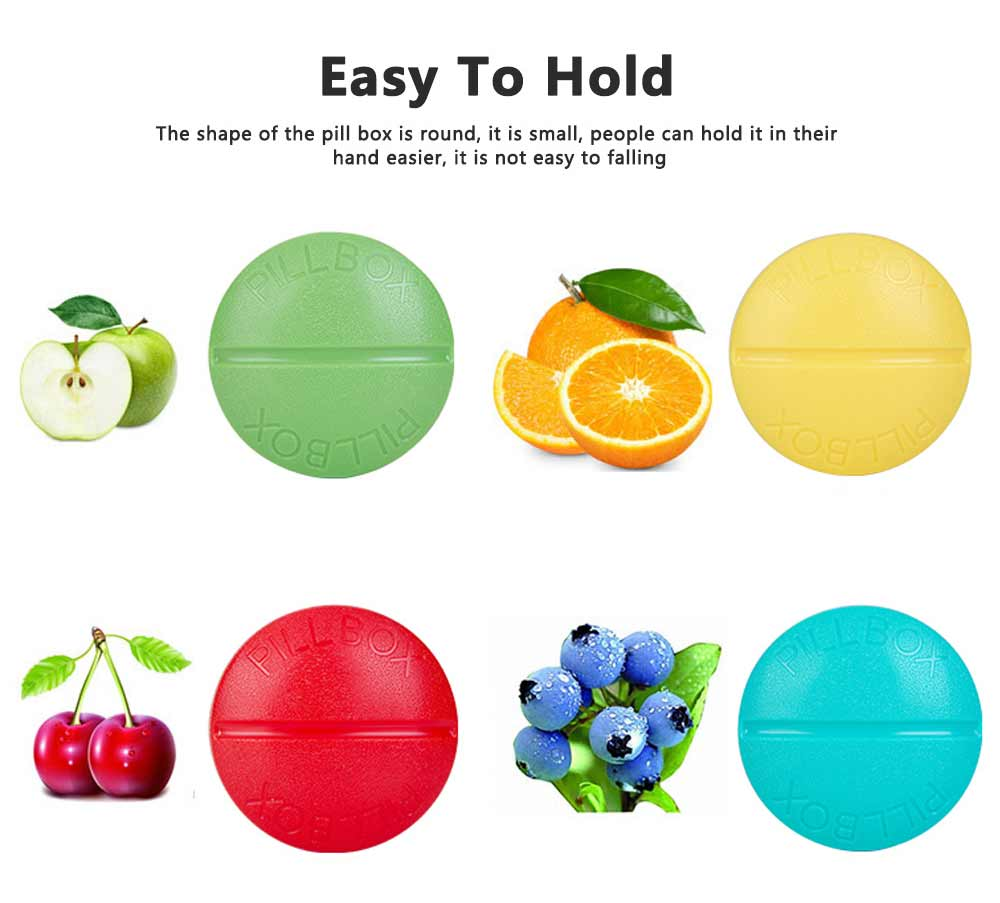 Macaron Color Round 4 Section Pill Box Portable Small Week Travel Dispensing Drug Storage Mini Box 5
