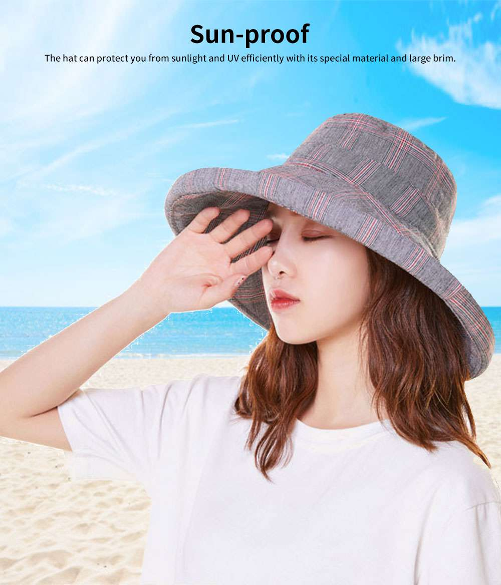 Summer Bucket Hat for Women Check Pattern Sun Hat Cap UV-protected Wind-proof & Sun-proof for Vacation Beach 2
