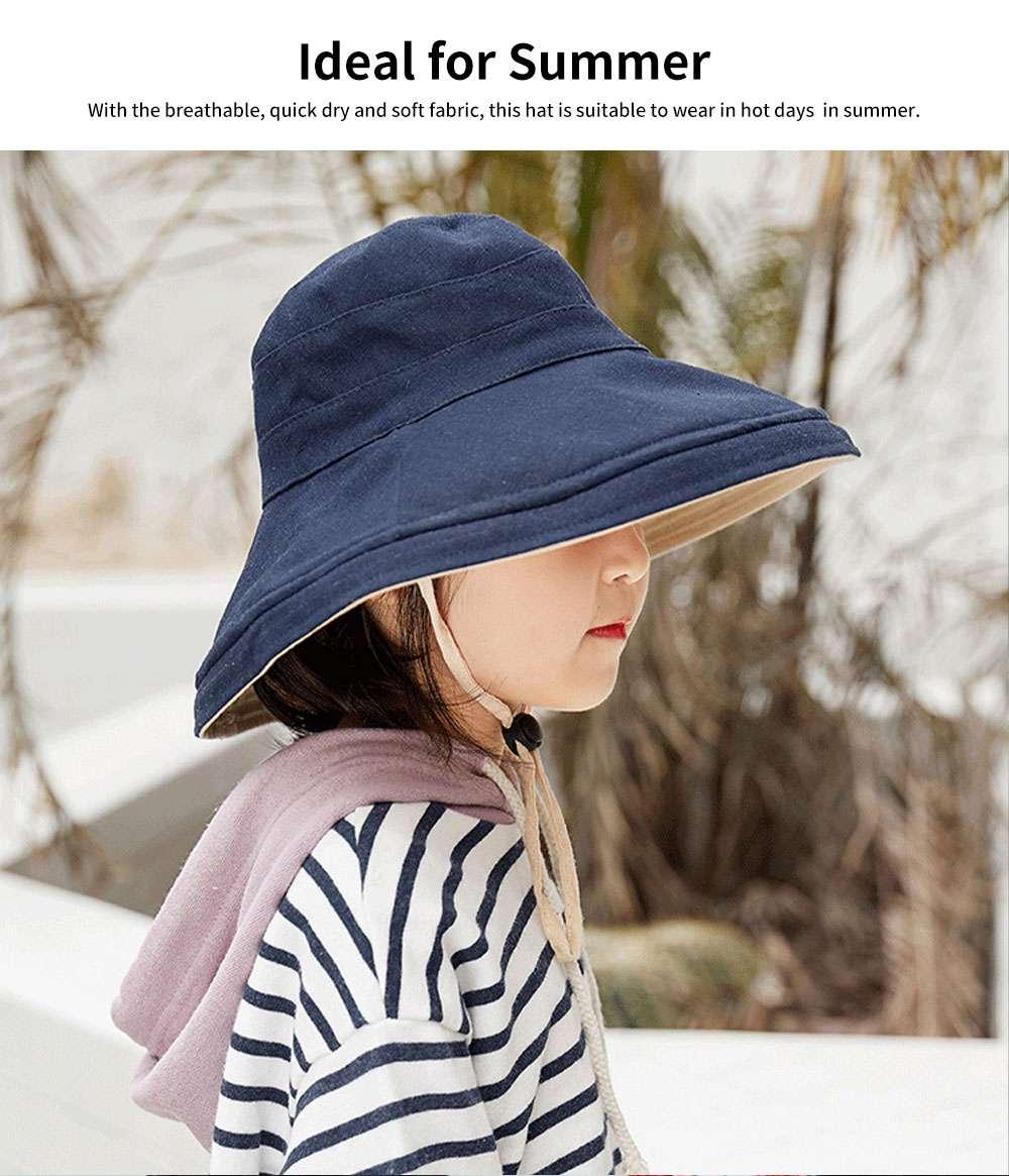 Sun-proof Bucket Hat for Children & Kids Cotton & Linen Spring Summer Sun Hat for Girls & Boys 2