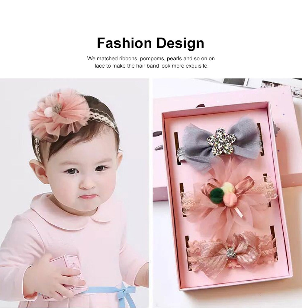 Girls Bow Headdress Lace Stylish Cute Headband Elasticity Children Crown Headband Set Baby Hair Accessories 2