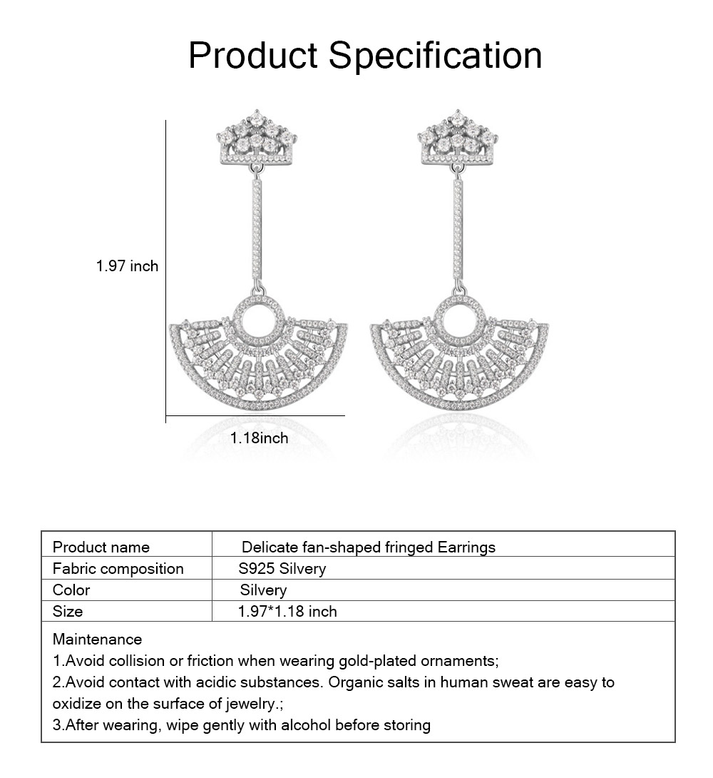 S925 Good Plating Stud Earring with Zircon Micro-inlaid, Small Fragrance Delicate Temperament Fan-shaped Tassel Ear Nails 6