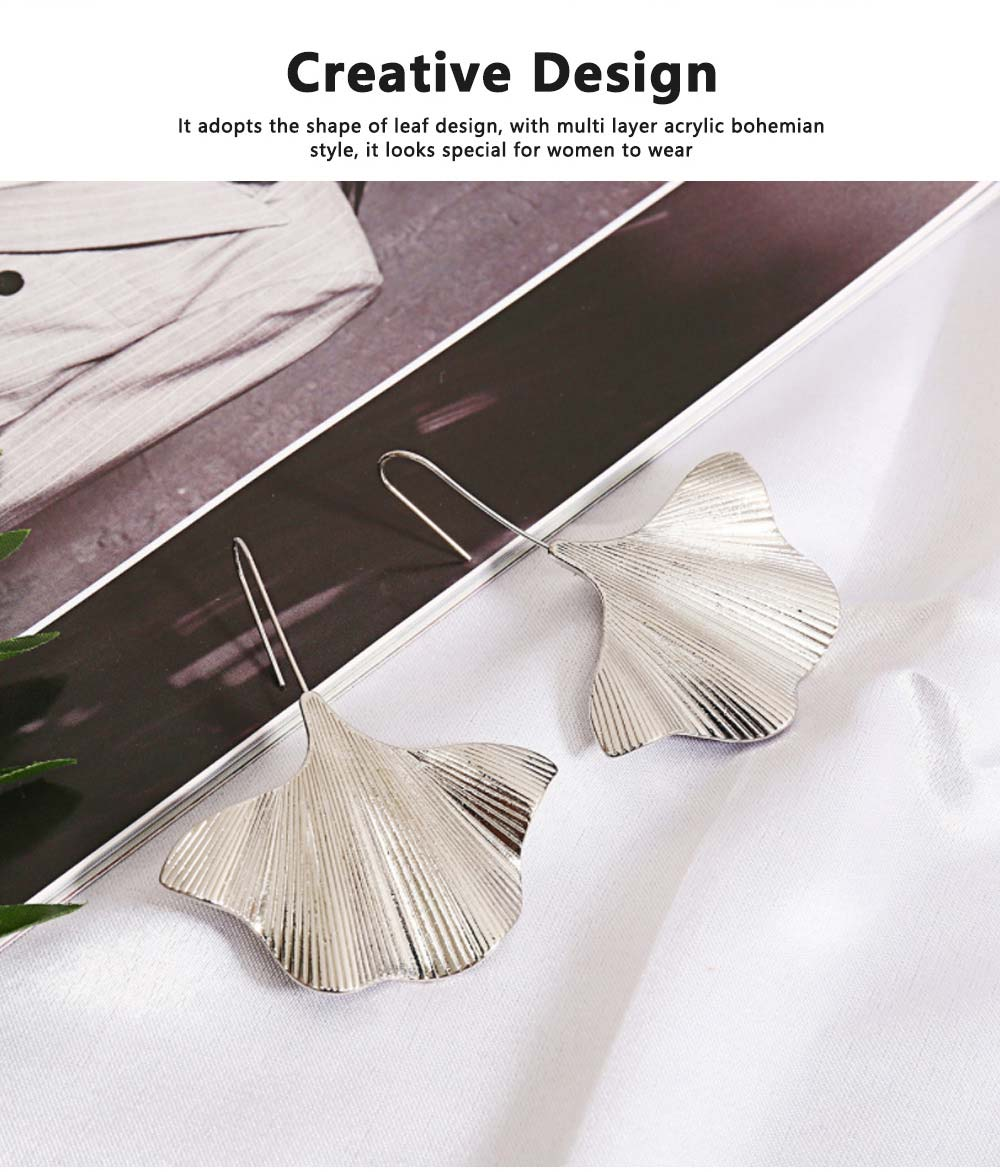 Minimalist Alloy Gold Ginkgo Biloba Leaf Simple Folded Female Hammered Creative Stud Earrings Multi Layer Acrylic Bohemian Fashion Jewellery 1