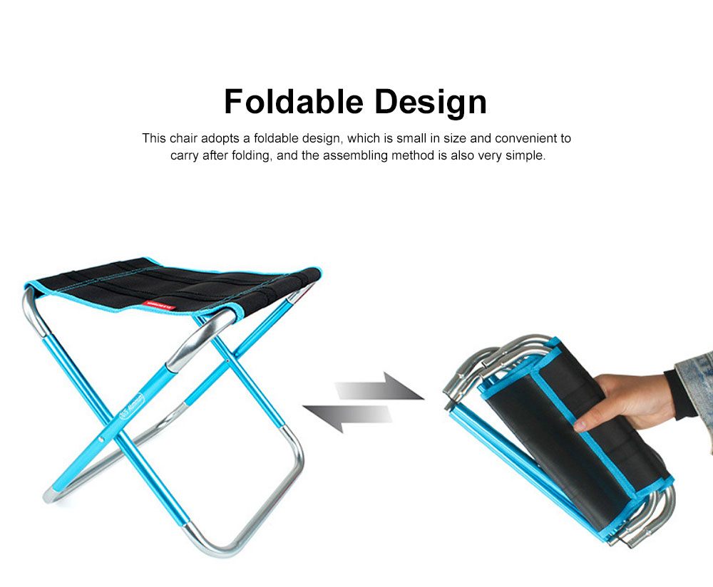 Outdoor Folding Chair Aluminum Alloy Lightweight Portable Fishing Barbecue Durable Train Chair Large Size Campstool 2