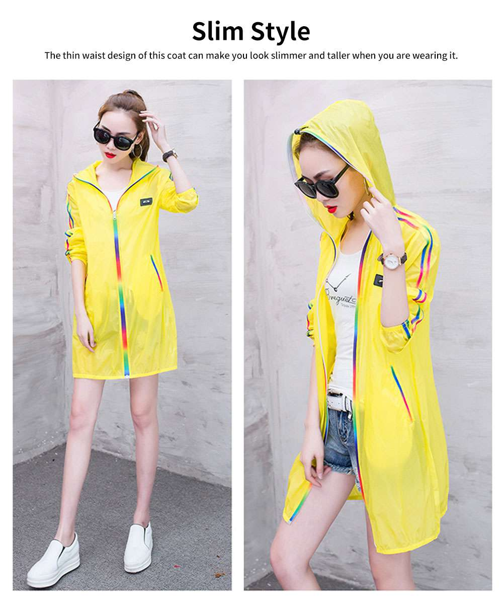 Summer Sun-proof Coat for Women, Mid-Long Beach Outwear Thin Breathable Cardigan for Sun Coat 2