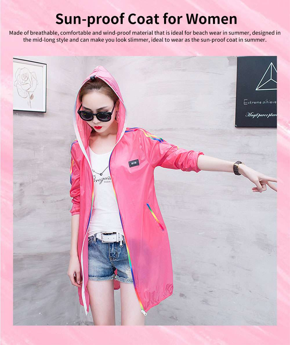 Summer Sun-proof Coat for Women, Mid-Long Beach Outwear Thin Breathable Cardigan for Sun Coat 0