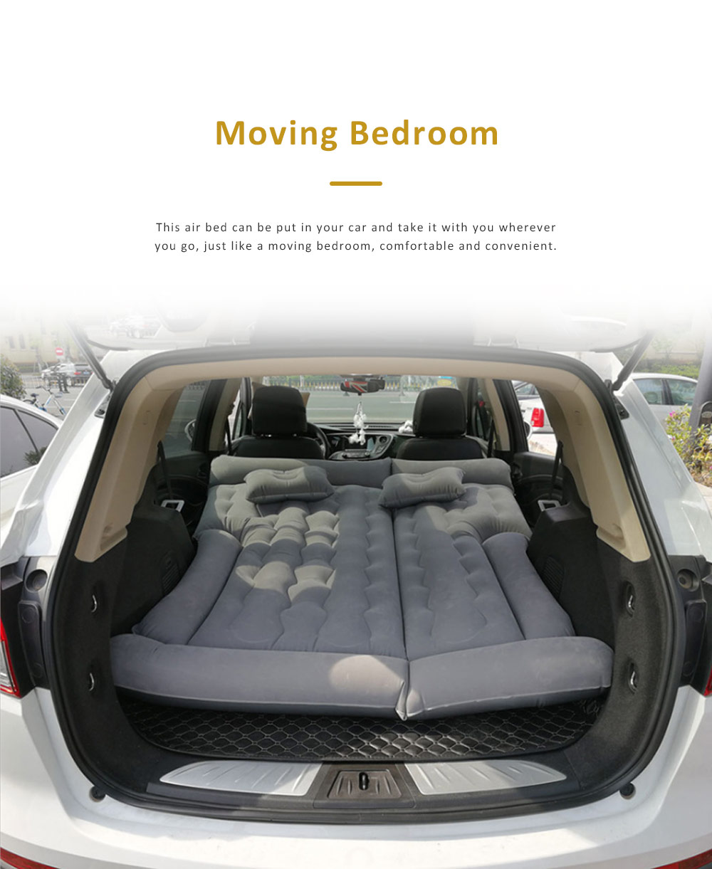 High Quality SUV Air Bed In-car for Traveling Camping Outdoor Activities, Flocking Fabric Sports Car Travel Mattress 1