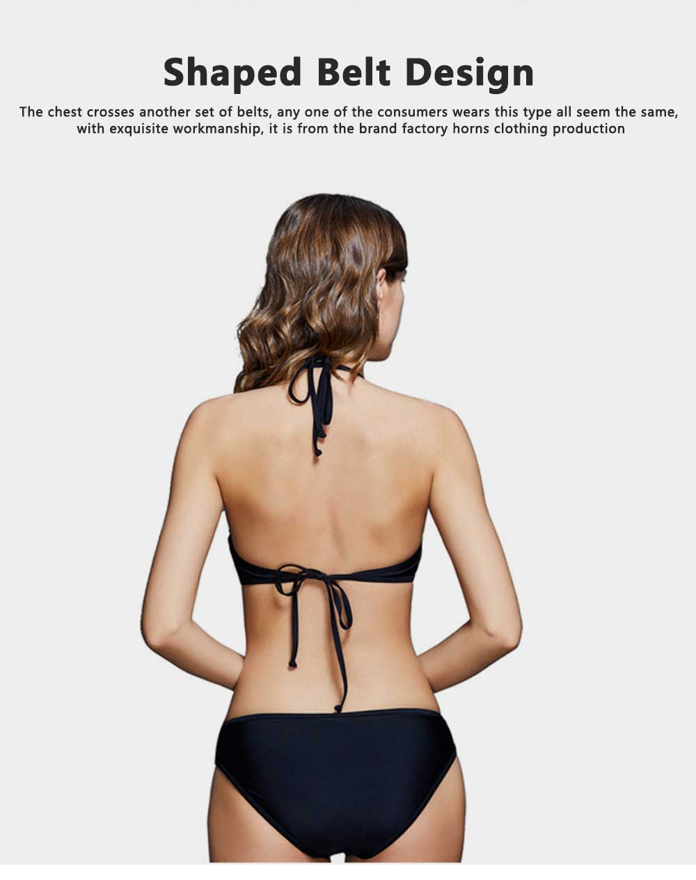 Hang Neck Sexy Women Bikini Foreign Trade Split Swimsuit Cross Two-piece Lady Cross Strap Front Cut Out Swimwear 2