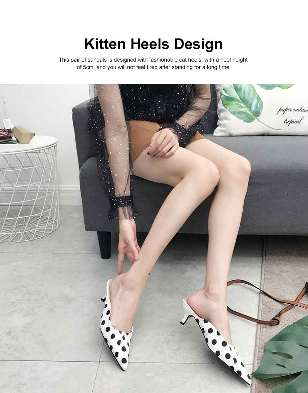 2019 New High Heel Sandals for Women Fashion Pleated Dots Sexy Kitten Heels Tip Binding Slipper Pointed Shoes 1
