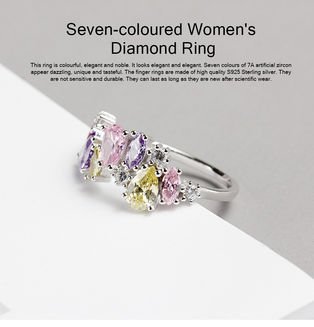Seven-coloured Women's Diamond Ring, Elegant S925 Sterling Silver Ring Jewelry for Europe and America 0