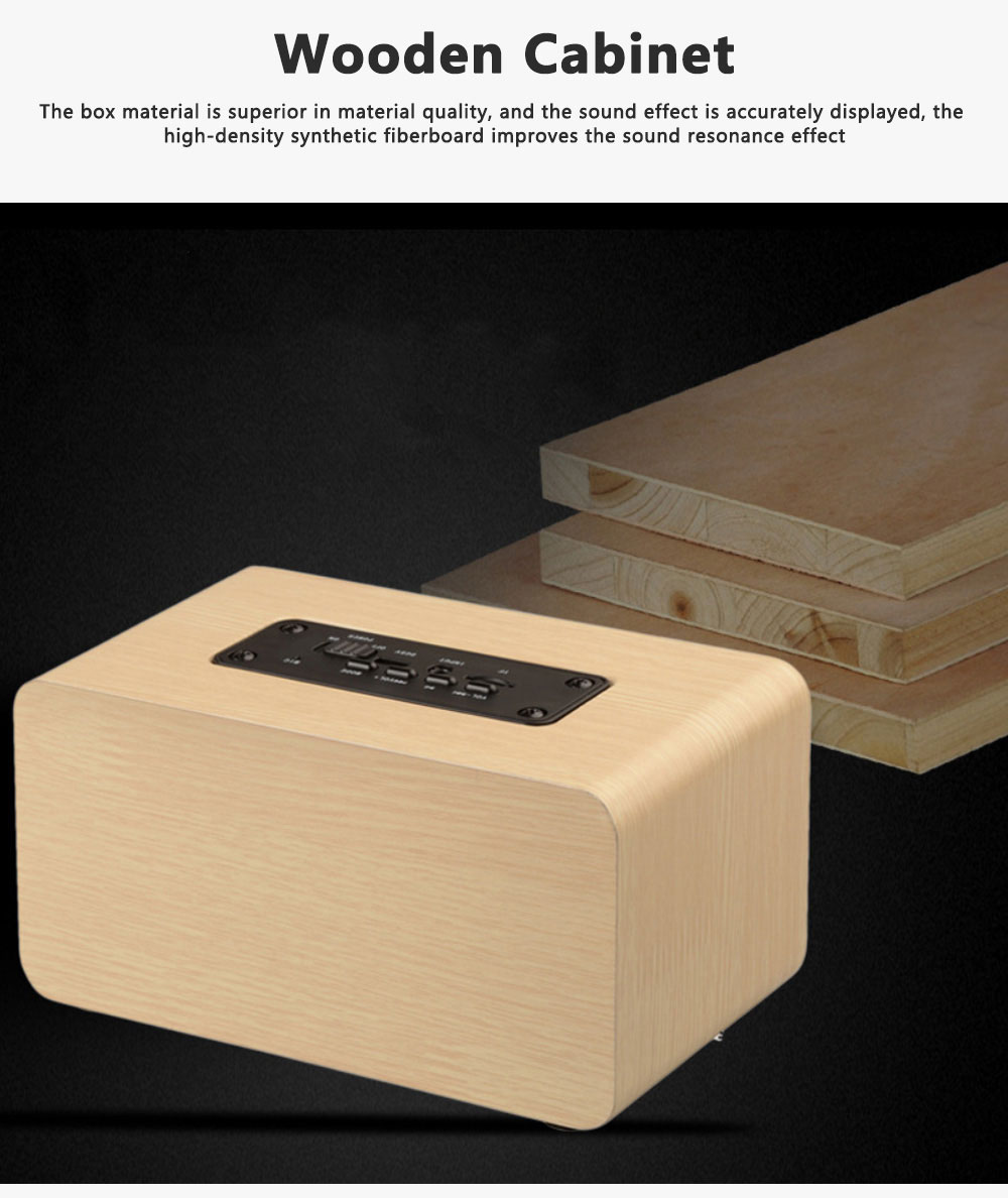 Outdoor Wood Pattern Wireless Bluetooth Speaker Portable Phone Computer Retro Radio Audio For Car Subwoofer Dual Speaker Support TF card 5