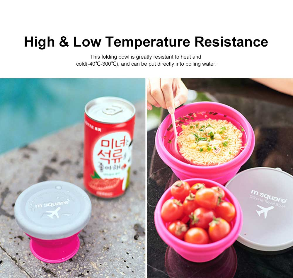 Folding Silicone Travel Bowl with Cover Portable Retractable Cup for Spring outing and Picnic 2