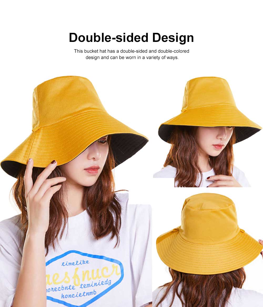 Double-sided Bucket Hat Polyester Ladies Korea Simple All-matched Big-brimmed Outdoor Sun Hat Spring Summer 2