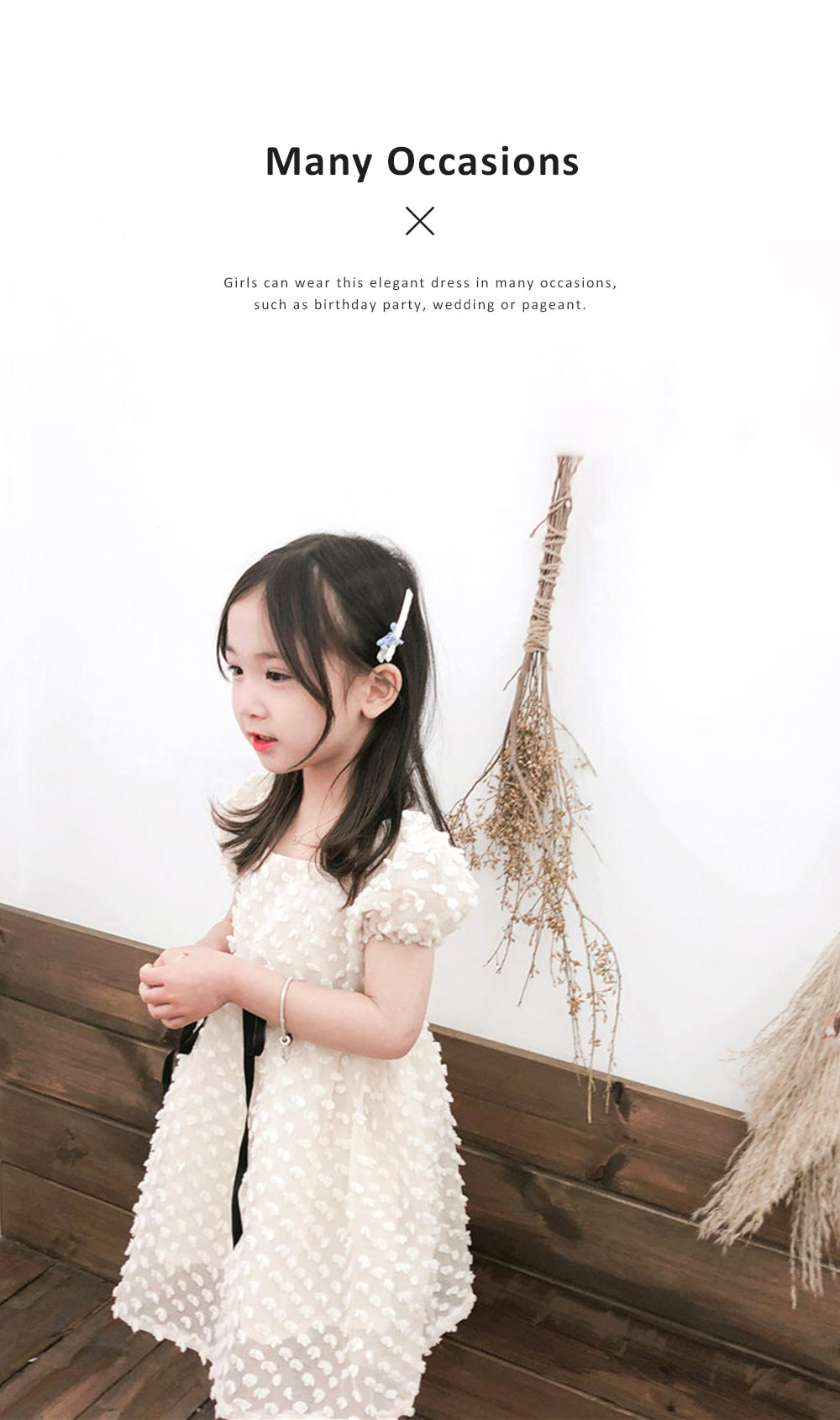 2019 Latest French Court Style One-piece Dress for Children, Sweet Cute Cotton Material Children Princess Dress 4