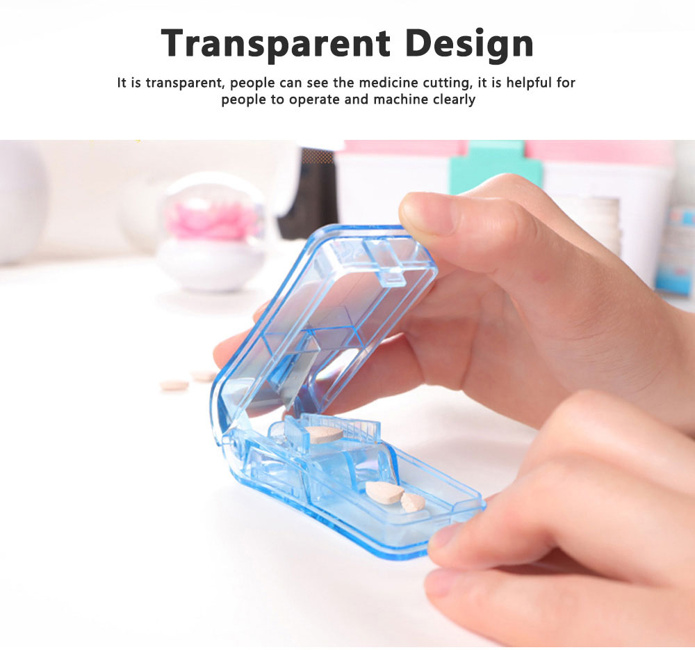 Practical Pill Box Medicine Cutting Device For Elderly Convenient Dispensing Transparent Portable Plastic Drug Storage 5