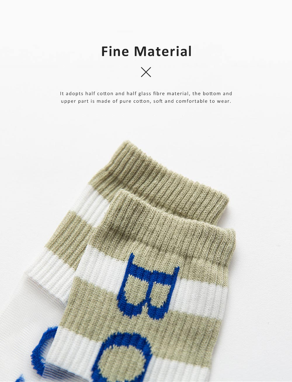 2019 Latest Fashionable Monogrammed Socks for Children, Glass Fibre Material Over-the-knee Mid-calf Length Socks 3
