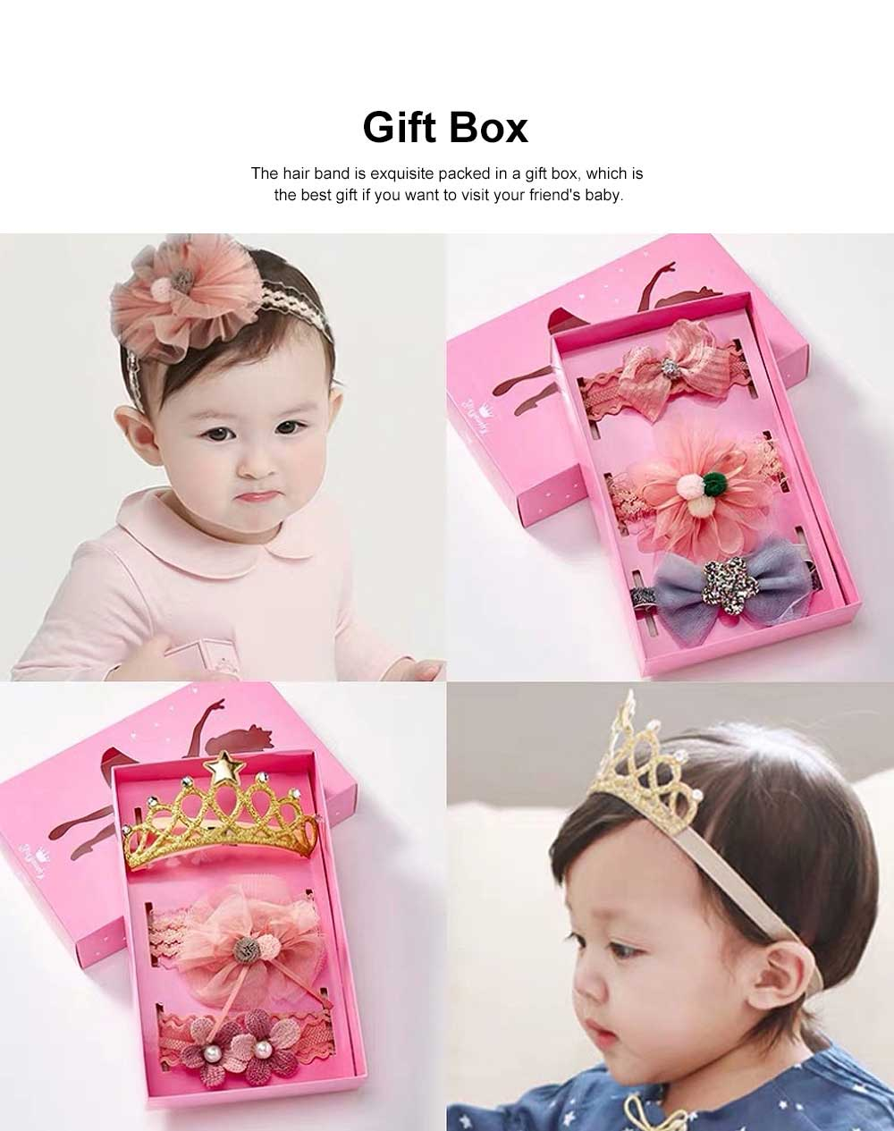 Girls Bow Headdress Lace Stylish Cute Headband Elasticity Children Crown Headband Set Baby Hair Accessories 4