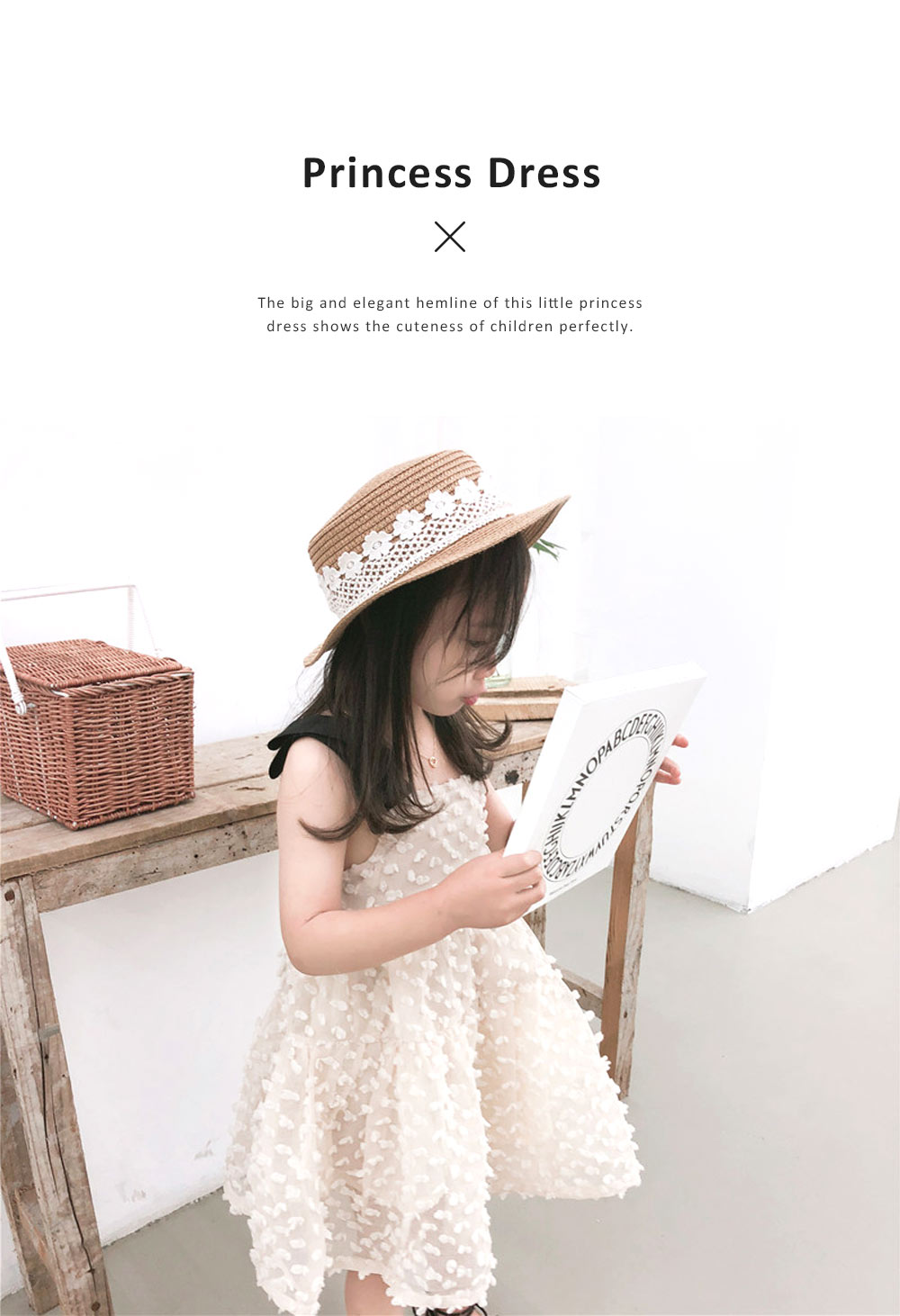 2019 Latest French Court Style One-piece Dress for Children, Sweet Cute Cotton Material Children Princess Dress 1