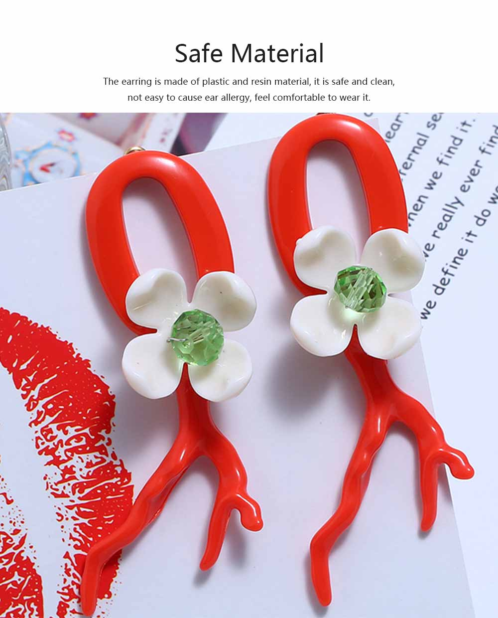 Bohemian Exaggerated Earrings Ear-drop Plastic Resin Coral Flower Decoration Ear Pendant Jewelry Allergy-resistant Smooth Earring 1