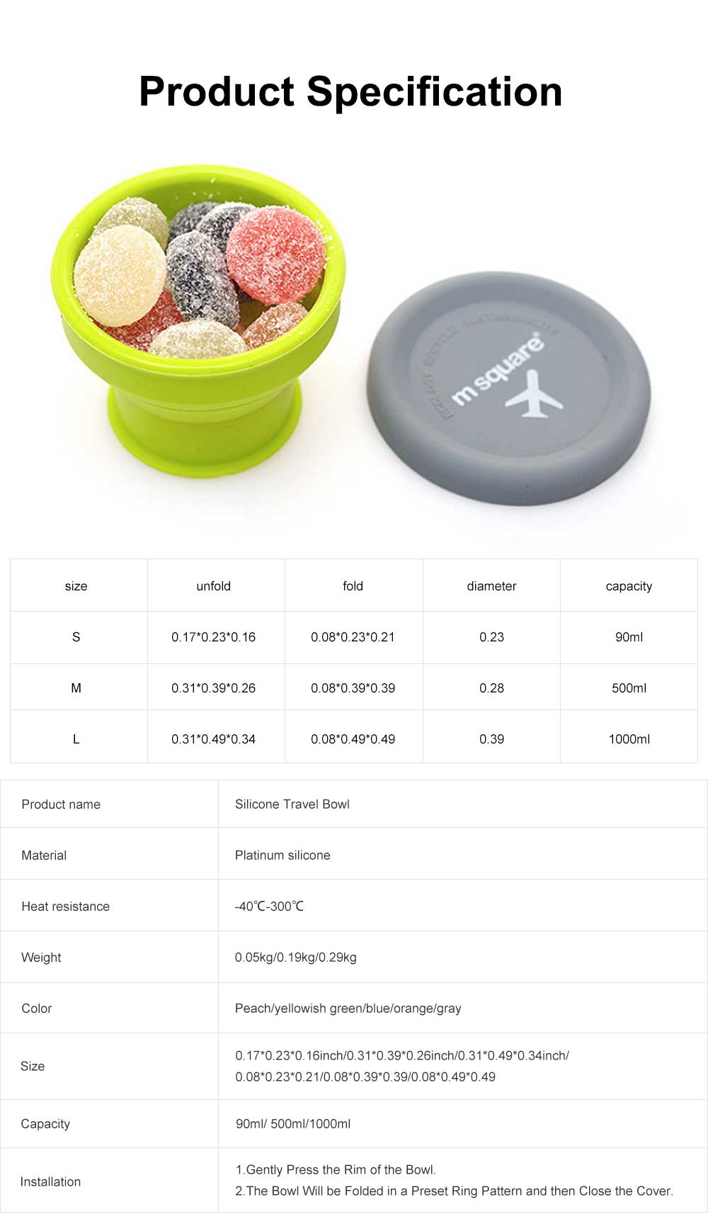 Folding Silicone Travel Bowl with Cover Portable Retractable Cup for Spring outing and Picnic 7