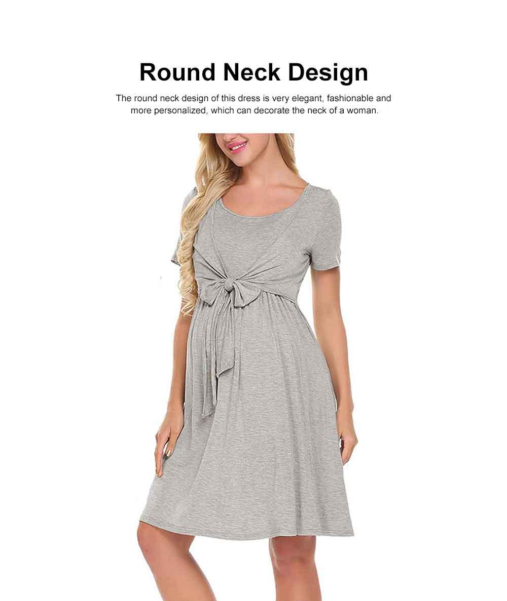 Lady's Nursing Dress Round Neck Soft Cotton Maternity Clothing Dress Fashion 2019 Summer 2
