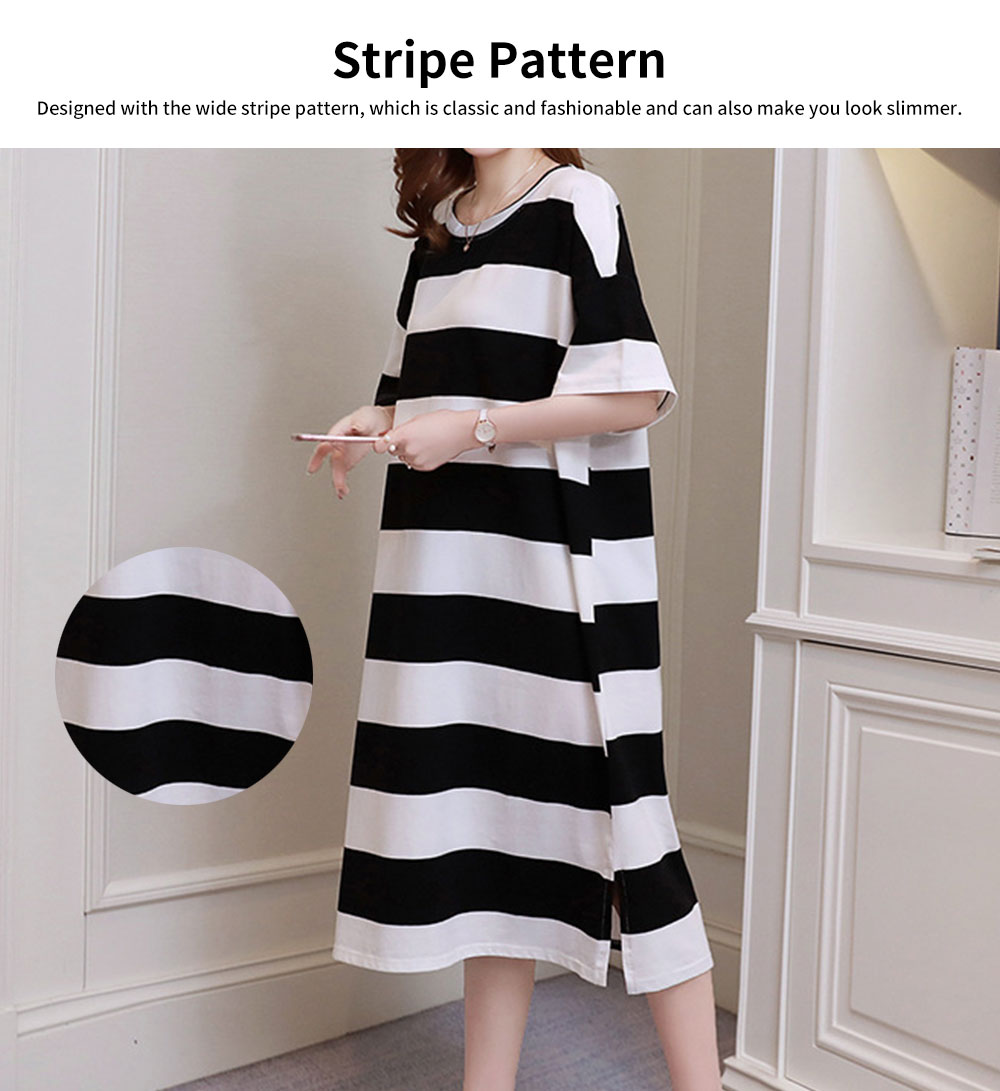 Stripe Pattern One-piece, Pregnancy Extra Large Wear, Over-size Loose Long Dress for Spring & Summer Maternity Dress 1