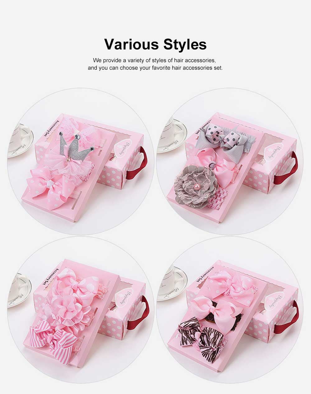 Children's Hair Band Gift Set Crown Fashion Exquisite Elasticity Bowknot Headdress Flower Hair Accessories Set 1