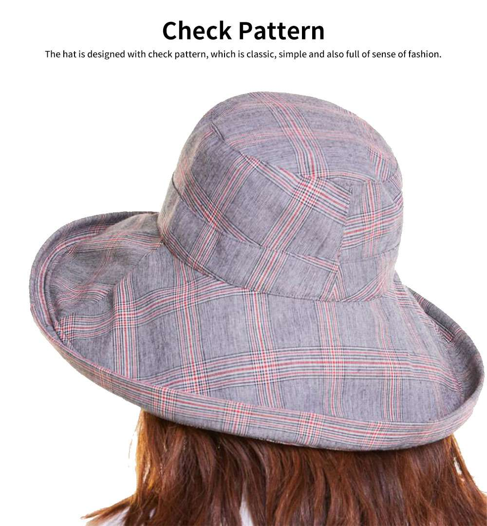 Summer Bucket Hat for Women Check Pattern Sun Hat Cap UV-protected Wind-proof & Sun-proof for Vacation Beach 4