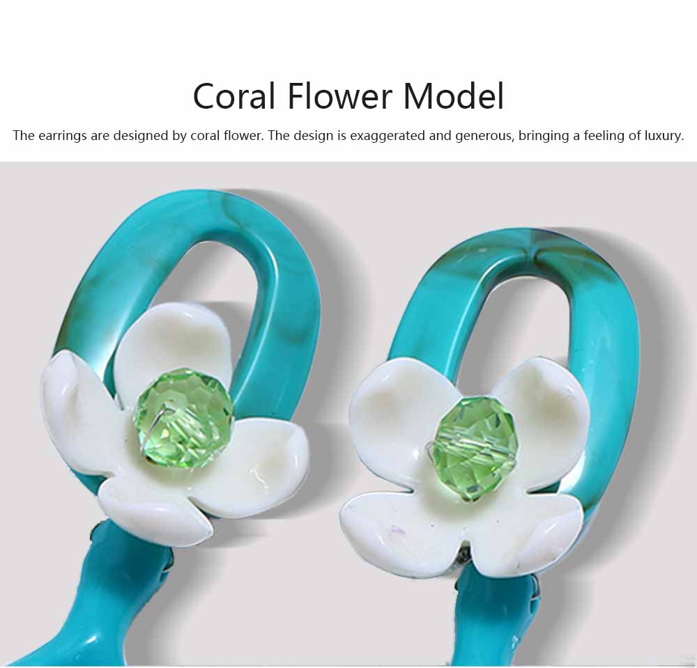 Bohemian Exaggerated Earrings Ear-drop Plastic Resin Coral Flower Decoration Ear Pendant Jewelry Allergy-resistant Smooth Earring 2