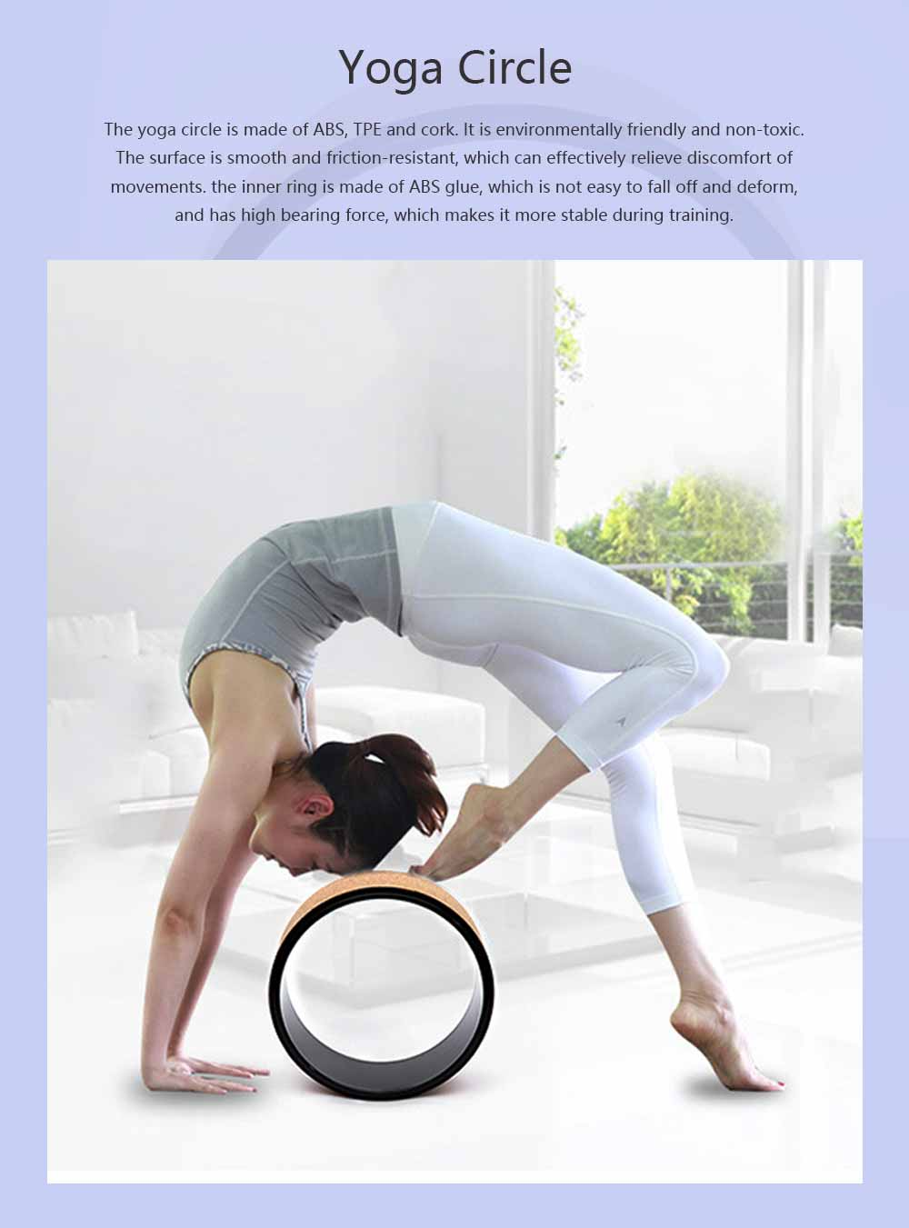 Yoga Training Circle ABS TPE Cork Material Non-toxic Training Roller Strong Bearing Pilates Circle Friction-resistant Massage Wheel 0