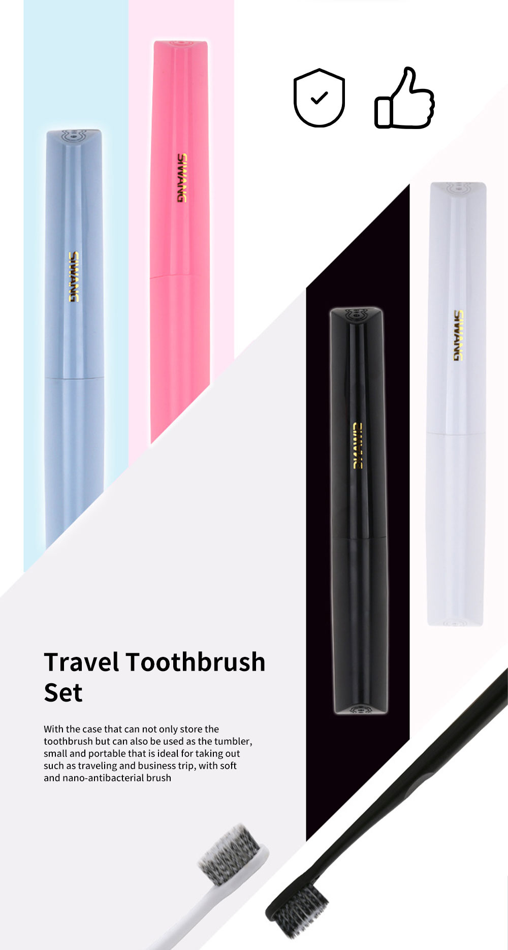 Soft Toothbrush Set, Toothbrush with Storage Case Ideal for Traveling Business Trip, Portable Deep Teeth Cleanser for Adults Couple 0