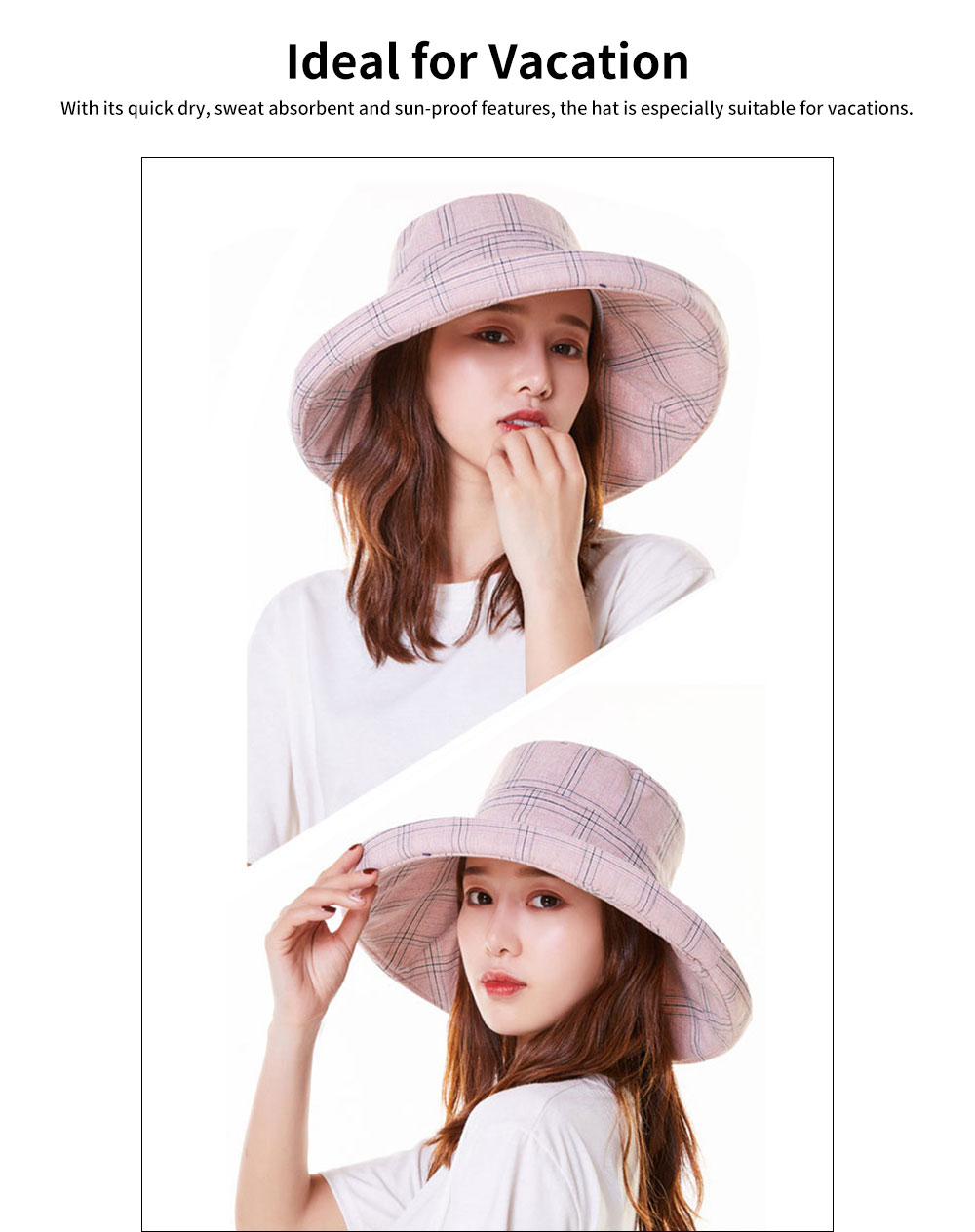 Summer Bucket Hat for Women Check Pattern Sun Hat Cap UV-protected Wind-proof & Sun-proof for Vacation Beach 5
