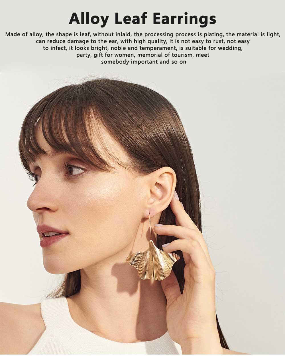 Minimalist Alloy Gold Ginkgo Biloba Leaf Simple Folded Female Hammered Creative Stud Earrings Multi Layer Acrylic Bohemian Fashion Jewellery 0