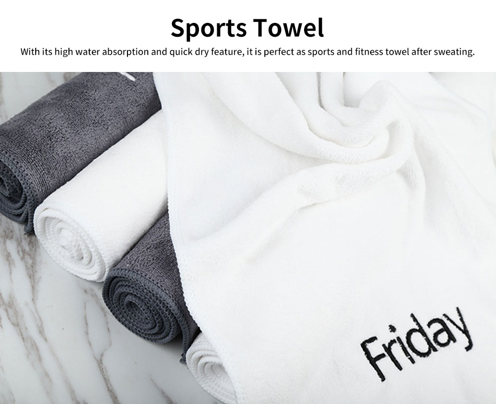 Microfibre Sports Towel High Water absorbent Quick Dry Gym Fitness Towel, One-week Black & White Facial Towel 2