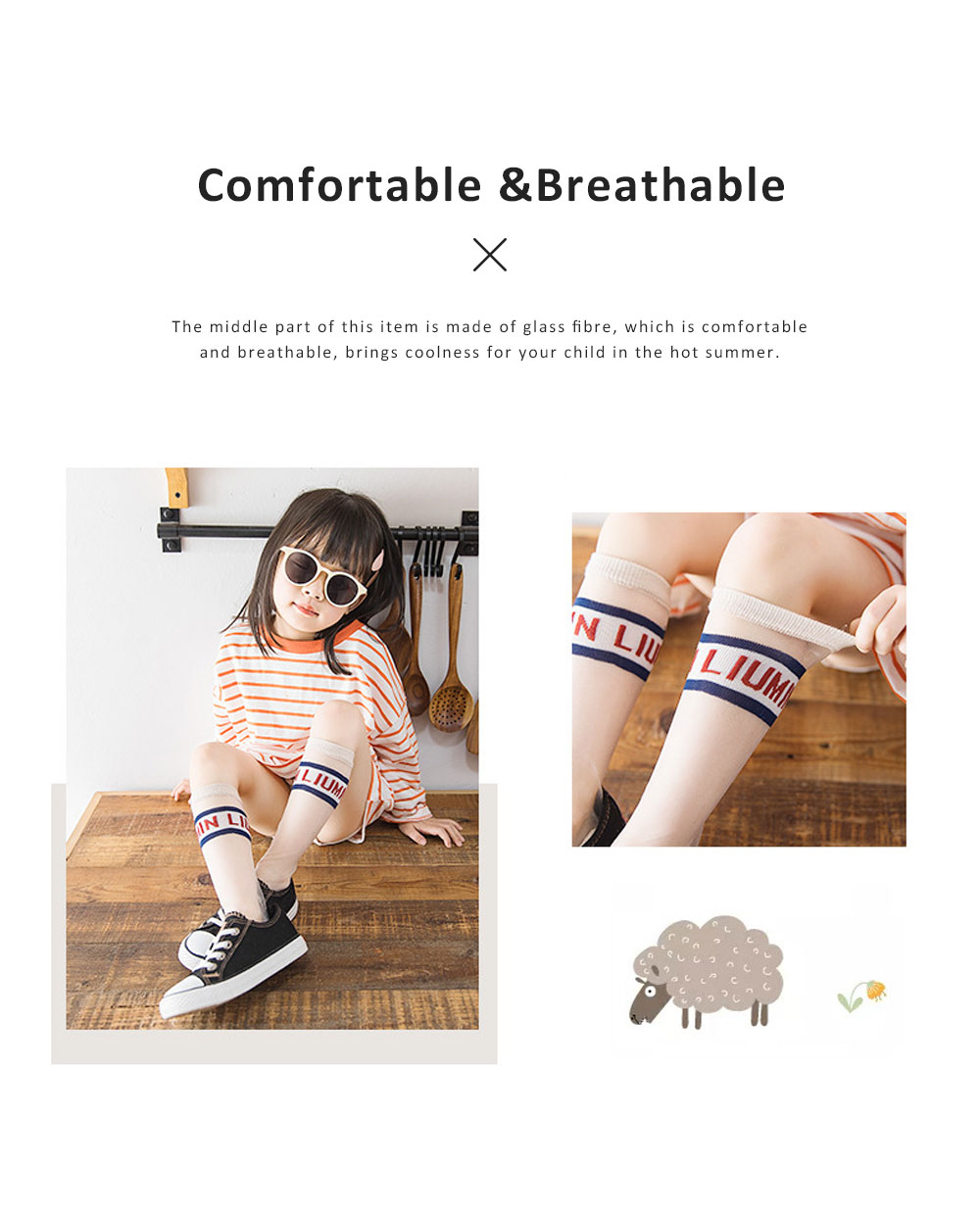 2019 Latest Fashionable Monogrammed Socks for Children, Glass Fibre Material Over-the-knee Mid-calf Length Socks 2