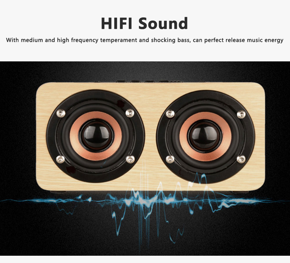 Outdoor Wood Pattern Wireless Bluetooth Speaker Portable Phone Computer Retro Radio Audio For Car Subwoofer Dual Speaker Support TF card 3