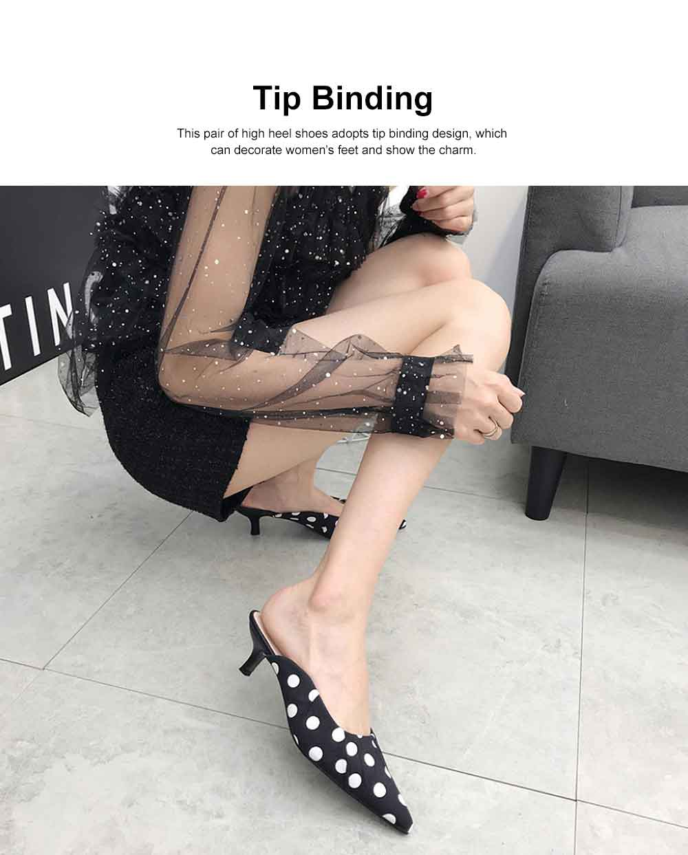 2019 New High Heel Sandals for Women Fashion Pleated Dots Sexy Kitten Heels Tip Binding Slipper Pointed Shoes 2