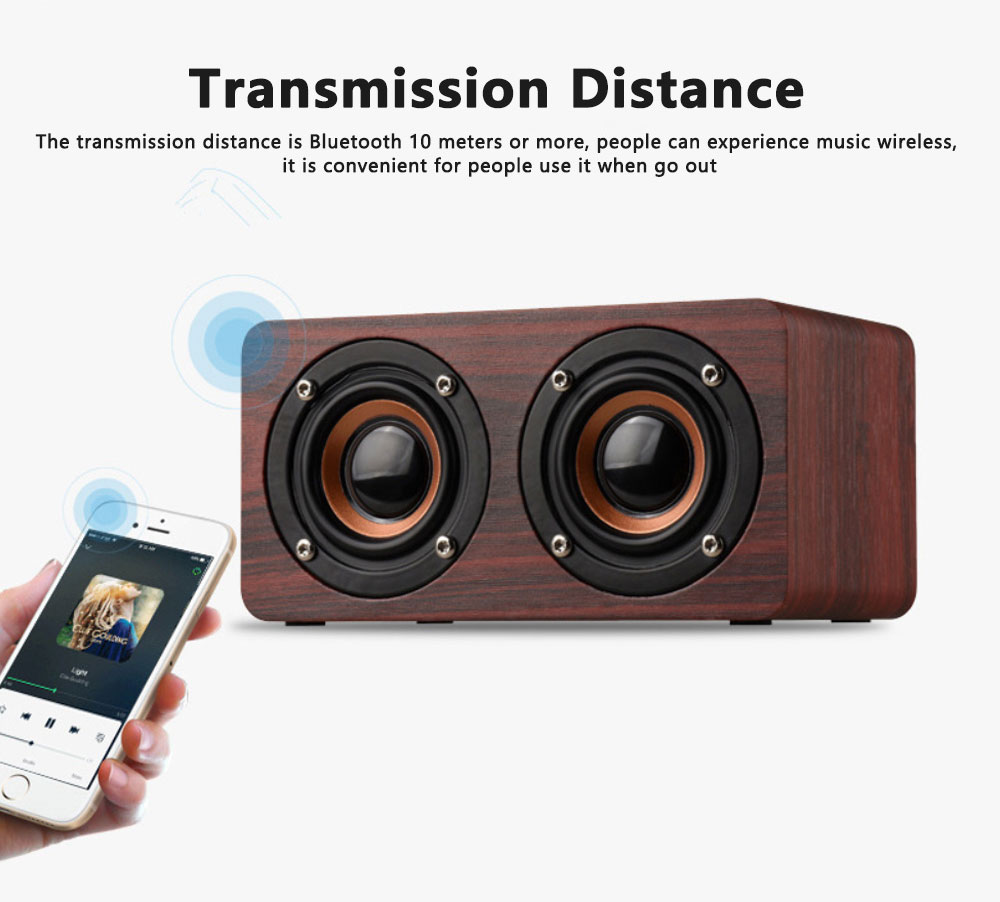 Outdoor Wood Pattern Wireless Bluetooth Speaker Portable Phone Computer Retro Radio Audio For Car Subwoofer Dual Speaker Support TF card 1