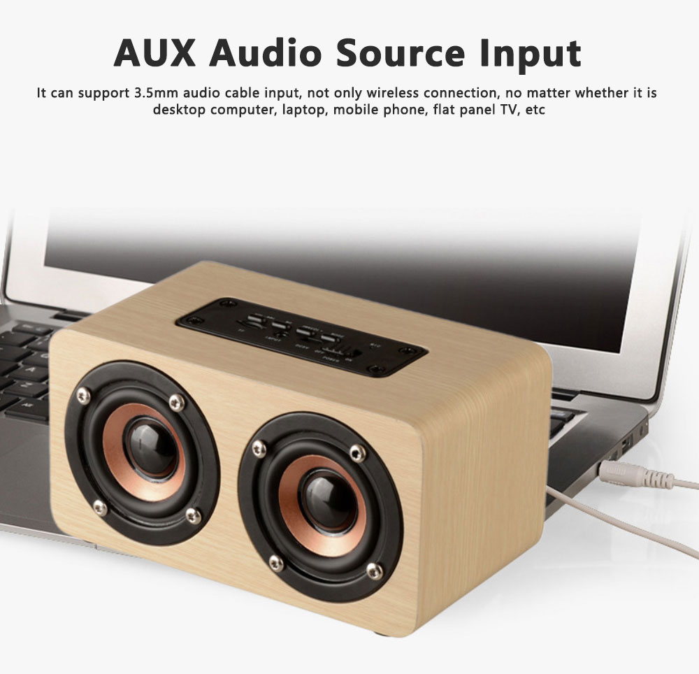 Outdoor Wood Pattern Wireless Bluetooth Speaker Portable Phone Computer Retro Radio Audio For Car Subwoofer Dual Speaker Support TF card 8