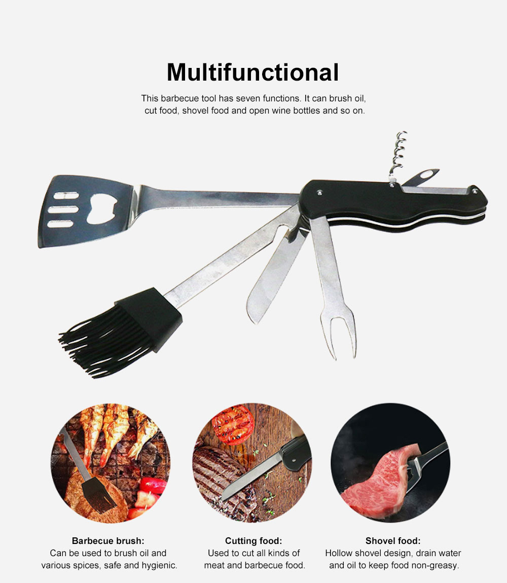 Multifunctional Barbecue Tool for Outdoor Camping 430 Stainless Steel High Temperature Resistance Multipurpose Tableware 1