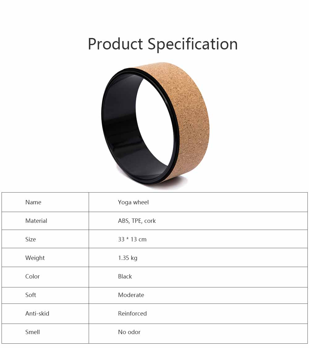 Yoga Training Circle ABS TPE Cork Material Non-toxic Training Roller Strong Bearing Pilates Circle Friction-resistant Massage Wheel 6
