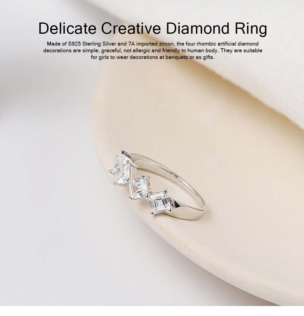 Delicate Creative Diamond Ring, Japanese and Korean Popular New S925 Zircon Ring with Simple Character 0