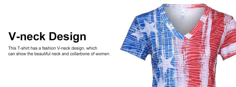 Summer Fashion V-neck Short Sleeves 2019 Women T-shirt Europe America Style Independence Day Flag Printing 4