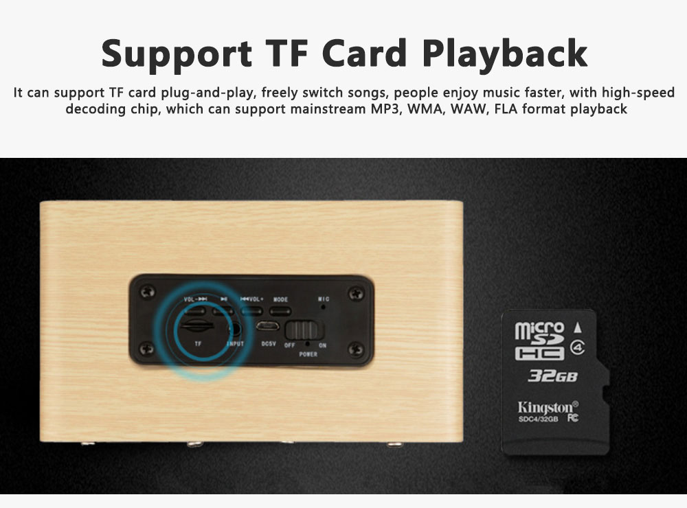 Outdoor Wood Pattern Wireless Bluetooth Speaker Portable Phone Computer Retro Radio Audio For Car Subwoofer Dual Speaker Support TF card 7