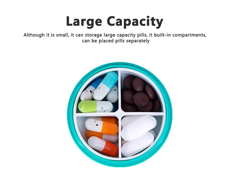Macaron Color Round 4 Section Pill Box Portable Small Week Travel Dispensing Drug Storage Mini Box 3