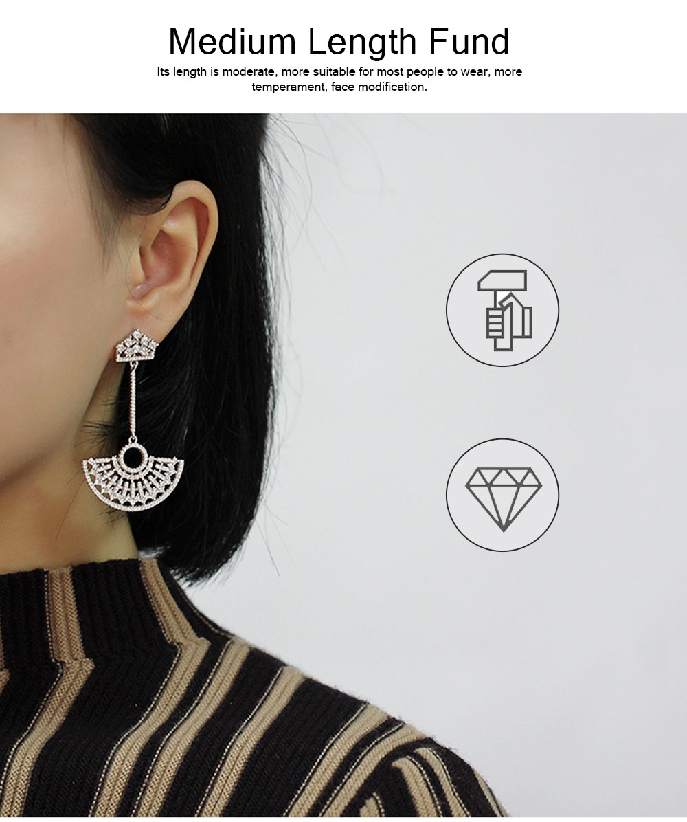 S925 Good Plating Stud Earring with Zircon Micro-inlaid, Small Fragrance Delicate Temperament Fan-shaped Tassel Ear Nails 2