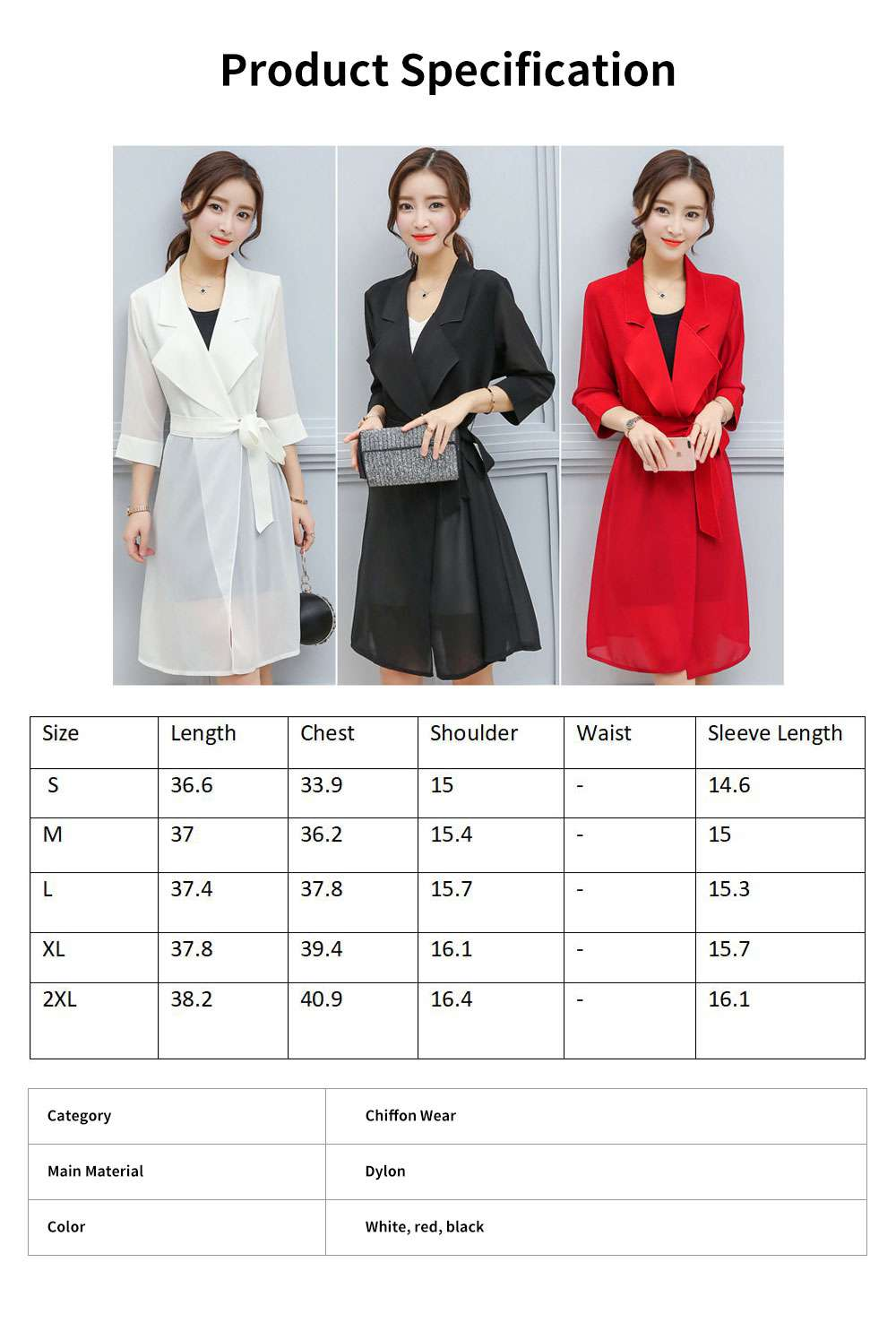 Lady Chiffon Wind Coat Mid-long Sun-proof Wind-proof Coat Sun Coat Thin Outwear with Waistband for Women 6