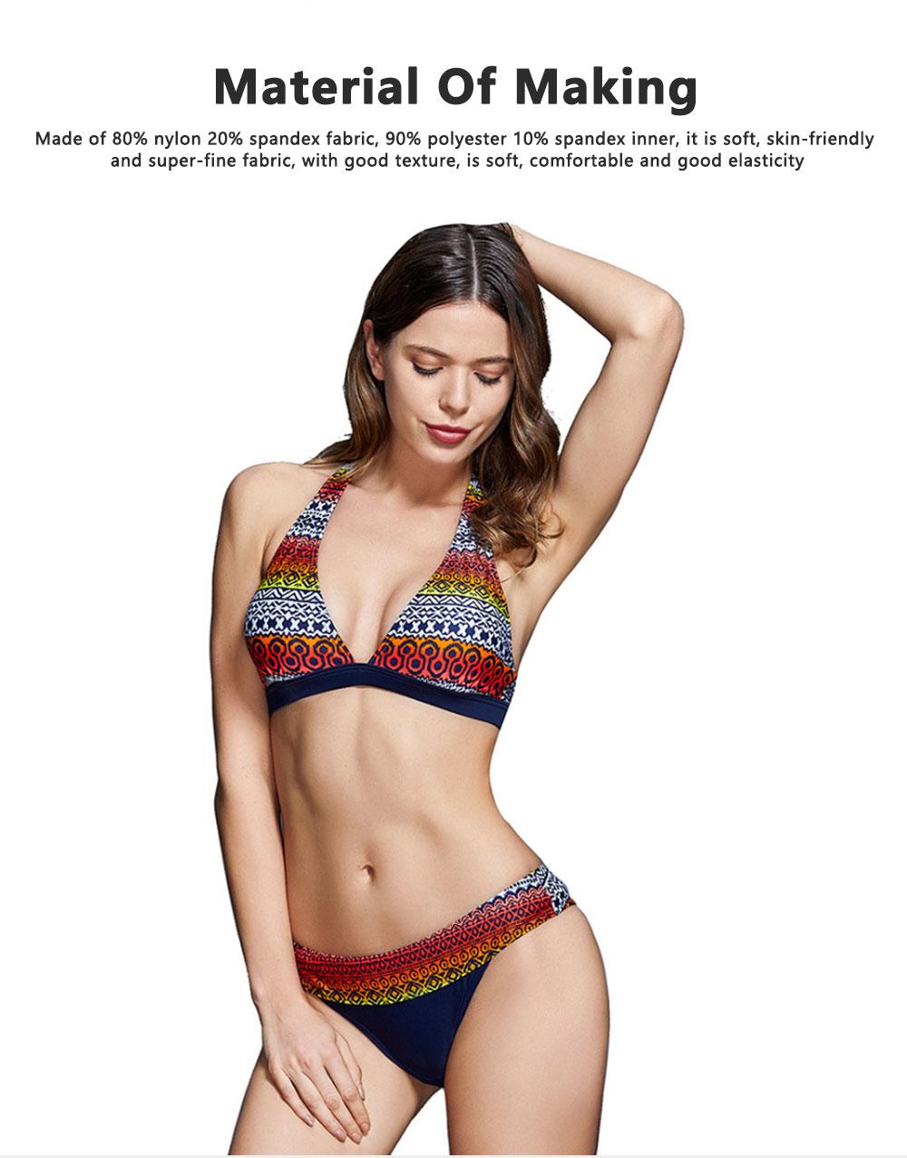 High Quality Best Selling Women Openwork Swimwear Behind Split Bikini Ethnic Flower Digital Print Two Pieces Ladies Swimsuit 1