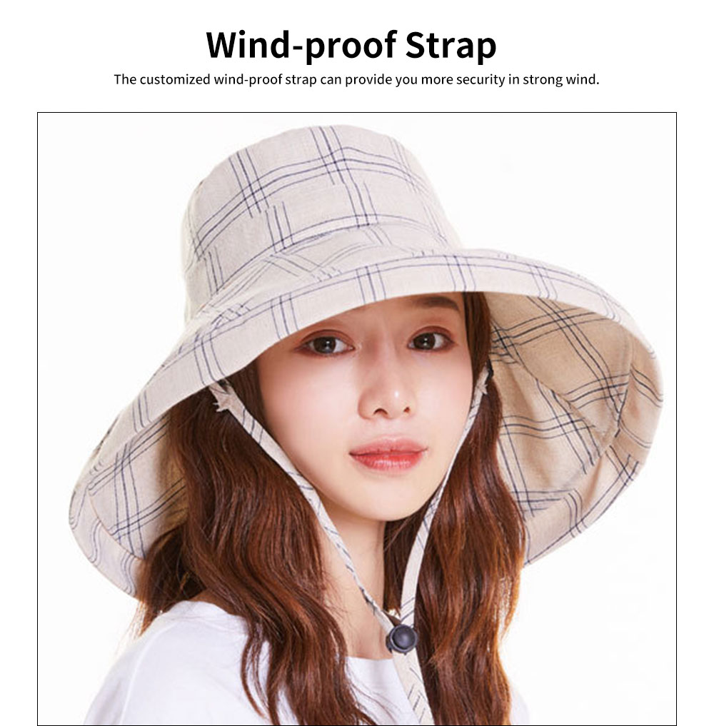 Summer Bucket Hat for Women Check Pattern Sun Hat Cap UV-protected Wind-proof & Sun-proof for Vacation Beach 3